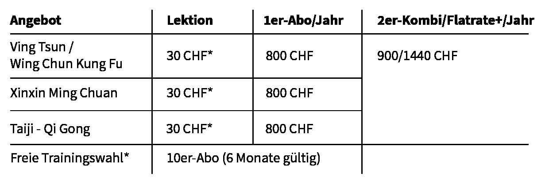 Preistabell Jugendliche (12-17 J) – Lehrl. – Stud.